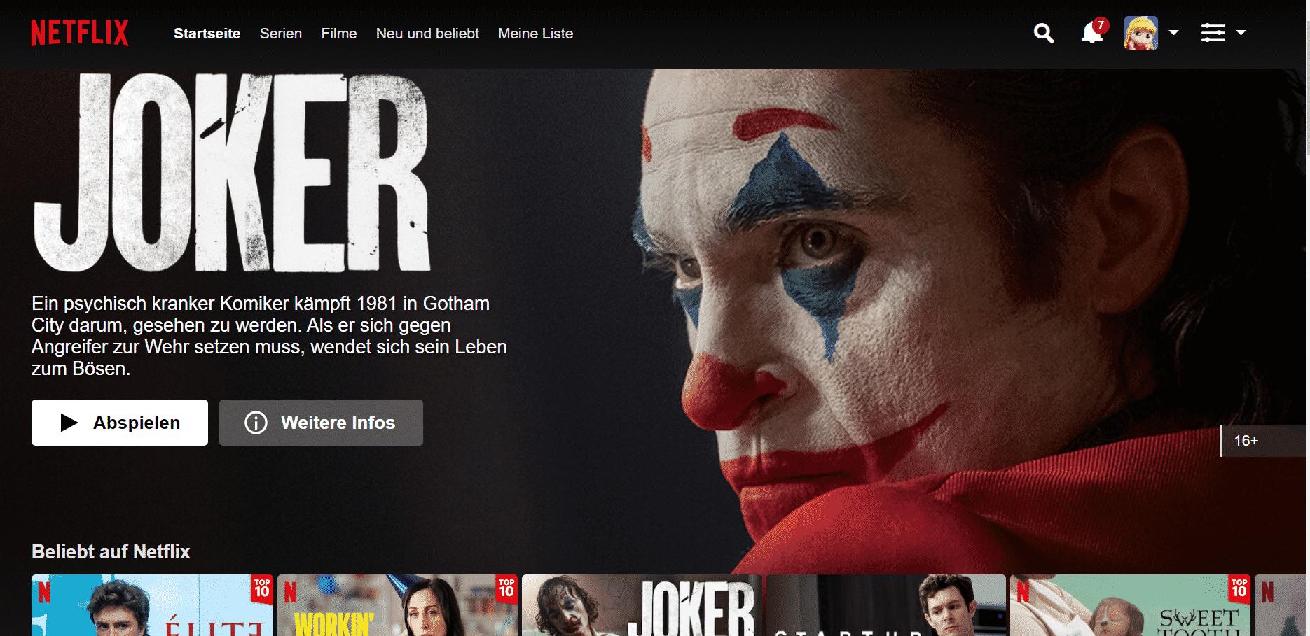 Netflix Startseite