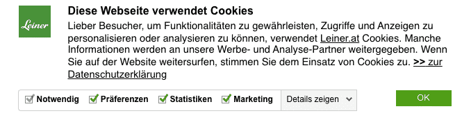Voorbeeld: Cookie Banner door Leiner.at
