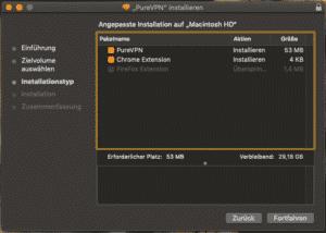 PureVPN installieren - Installationstyp