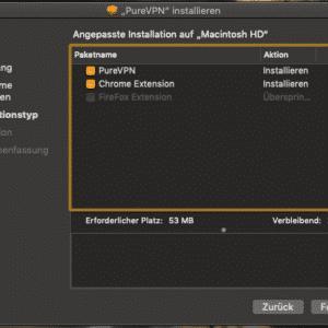 PureVPN install - installation type