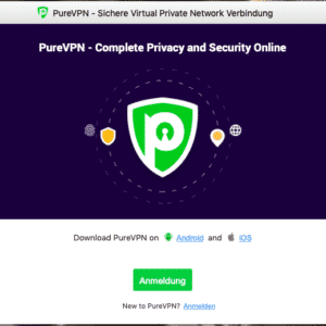 Registration in the software of PureVPN
