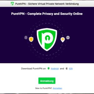 Anmeldung in der Software von PureVPN