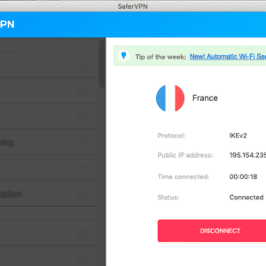 SaferVPN for Mac - Connected to France