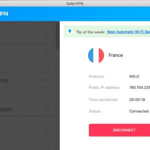 SaferVPN für Mac - Verbunden mit Frankreich