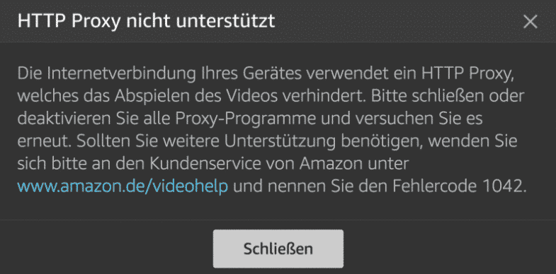 Amazon Video Error Code: 1042 means yours VPN Provider has already been blocked