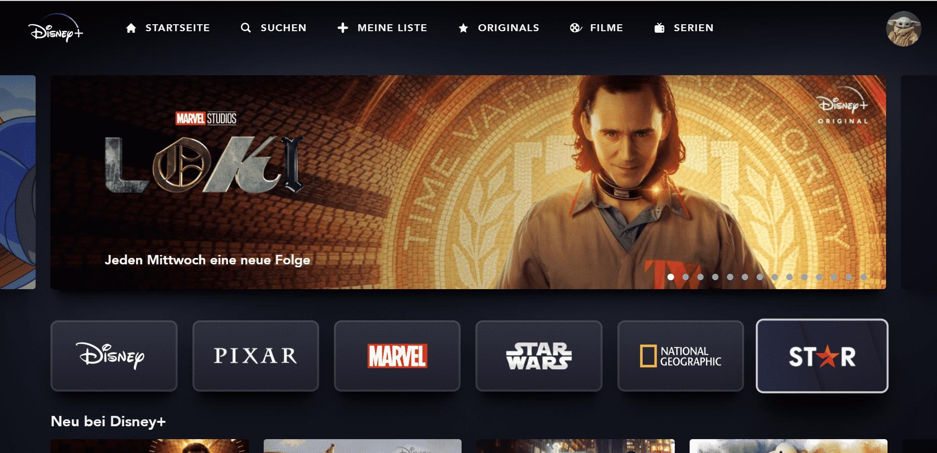 Disney Plus Webseite