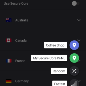 ProtonVPN menu