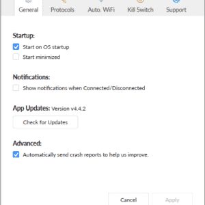 General settings of the software