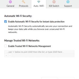 Automobile. WiFi settings of the saferVPN Software