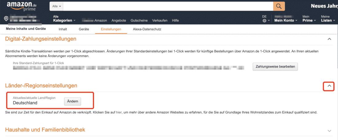 Amazon Ländereinstellung (Deutschland) um Apps die in Deutschland verfügbar sind laden zu können!