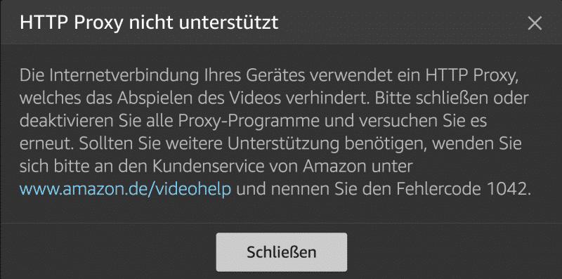 Amazon Video Fehlercode: 1042 bedeutet Dein VPN Anbieter wurde bereits blockiert