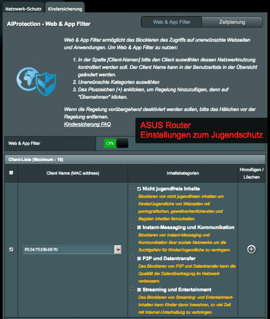 ASUS router youth / child protection integrated (optional)