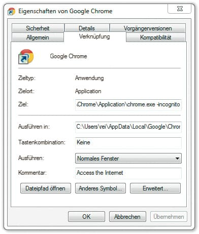 Start altijd Google Chrome incognito