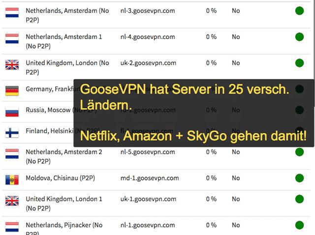 GooseVPN Servers & Locaties