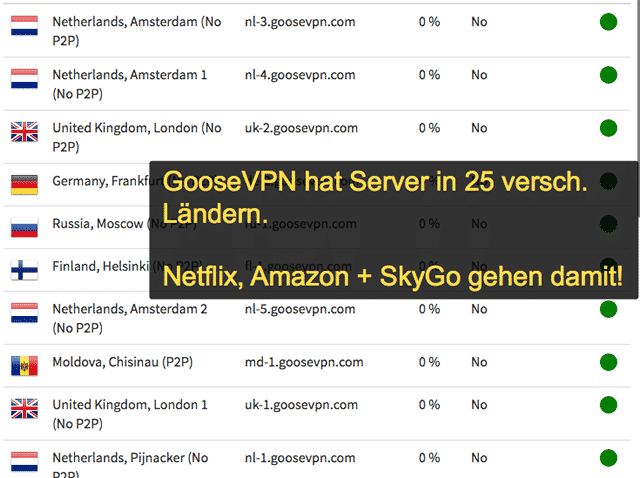 GooseVPN Server & Standorte