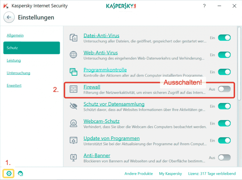 Kaspersky Firewall and Perfect-Privacy VPN Manager