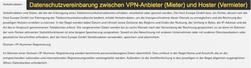 Contract de închiriere Hoster & VPN-Anbieter