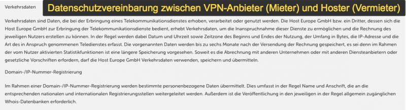 Mietvereinbarung Hoster & VPN-Anbieter