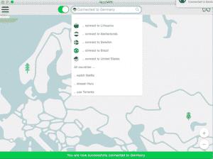 Standortauswahl in der Software von NordVPN