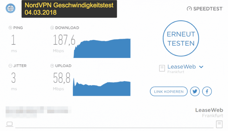 NorthVPN Speed ​​test result