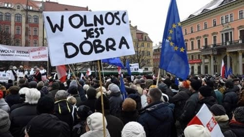 Poland demonstrates against surveillance state.