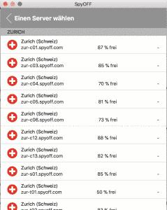 SpyOFFVPN Server single choice