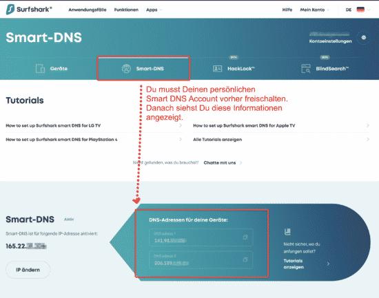 Surfshark VPN - Smart DNS Funktion