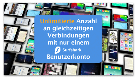 Unlimited devices and connections with one Surfshark Account
