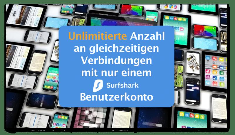 Unlimitierte Geräte und Verbindungen mit einem Surfshark Benutzerkonto