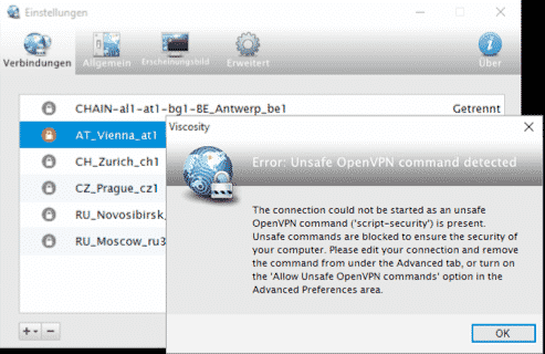 Viscosity OpenVPN Warnhinweis bei Update auf Version 1.6.8
