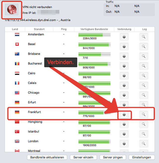 Perfect-Privacy VPN mit dem Server in Deutschland verbinden