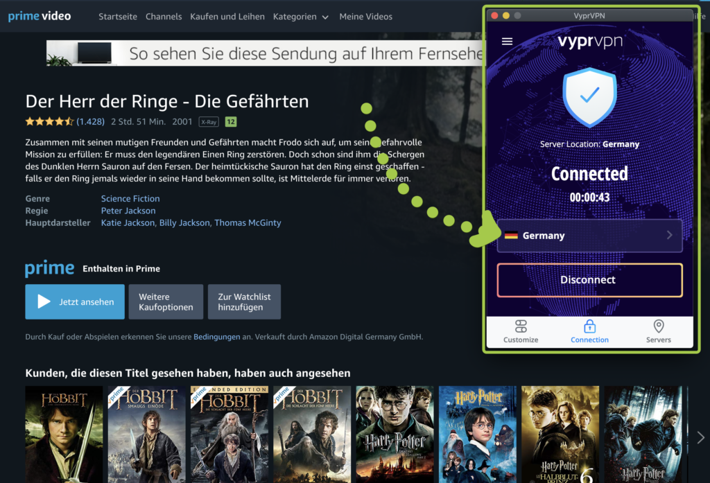 Amazon Prime Video im Ausland mit VyprVPN