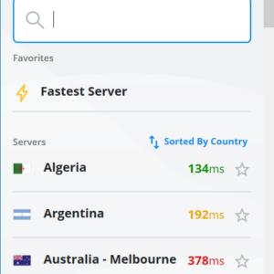 Die manuelle Serverauswahl von VyprVPN